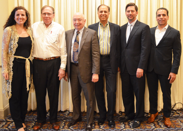From left: Juliana Garaizar – Managing Director, Houston Angel Network, Howard Rambin – CEO & Founder, Moody Rambin, Leo Womack – President, Gulf Equities Realty Corp., Dr. Arun Pasrija – TiE Houston President, Ricardo Rivas – Principal and Chief Investment Officer, Allied Orion Group, and Jiten Karnani – President, Deccan Development Company.
