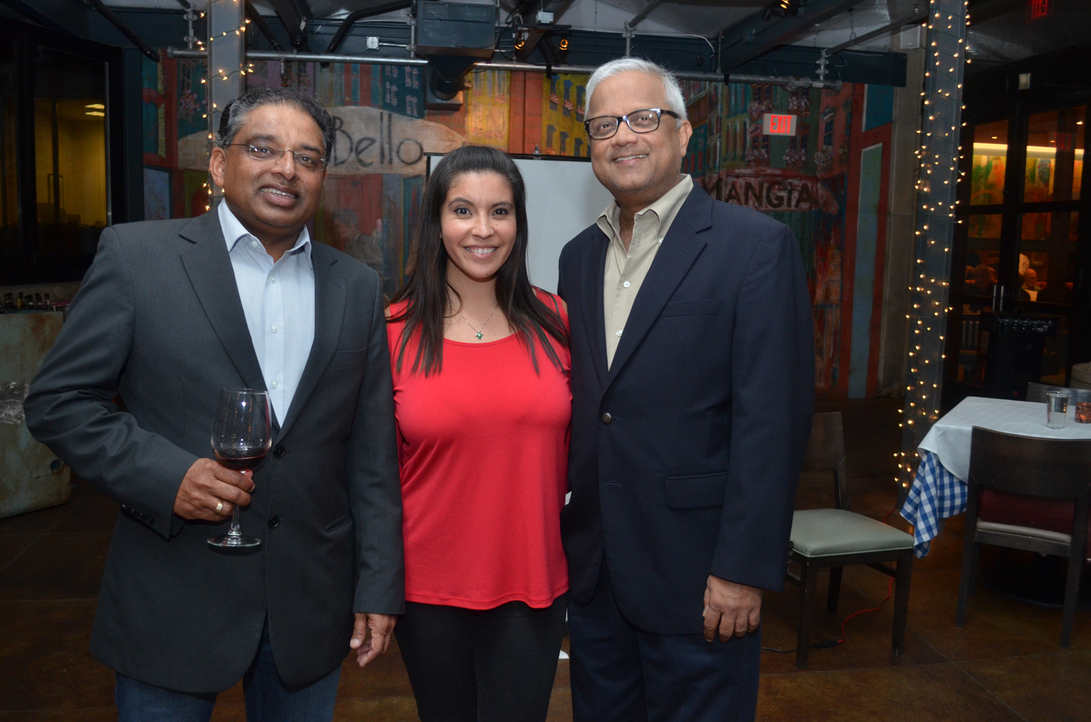 From Left to Right: Vijay Menon, TiE Global Executive Director, Ana Rojas Bastidas, TiE Houston Executive Director and Pradeep Anand, TiE Houston member. Photos credit: Ana Rojas Batidas, TiE Houston Executive Director.