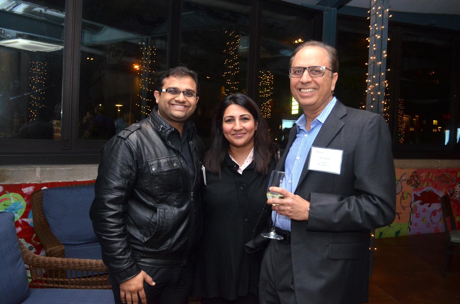 From Left to Right: Ravi Brahmbhatt, TiE Houston Board and Charter member, Sehar Javed, TiE Houston member and Dr. Arun Pasrija, TiE Houston President.