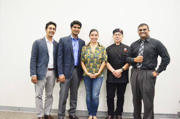 From left: Purav Patel – Bagel Dots, Masroor Fatany – The Halal Guys, Ana Rojas Bastidas – TiE Houston Executive Director, Gary Yan – Alings Hakka, and Ravi Brahmbatt – TiE Houston Board Member/ HCC Faculty.