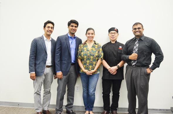 From left: Purav Patel – Bagel Dots, Masroor Fatany – The Halal Guys, Ana Rojas Bastidas – TiE Houston Executive Director, Gary Yan – Alings Hakka, and Ravi Brahmbatt – TiE Houston Board Member/ HCC Faculty.